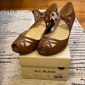 NIB All Black Peep Toe Heels from Anthropologie